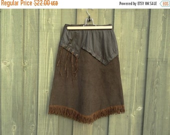 ON SALE Brown Corduroy Skirt Fringe Lining Hippie Bohemian Size Small