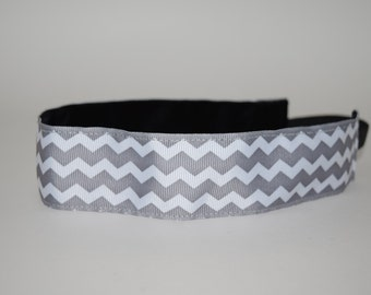 Steel Gray Chevron Headband- Sport Headband- 1.5 inch headband- Gray- Chevron- White- nonslip- no slip headband