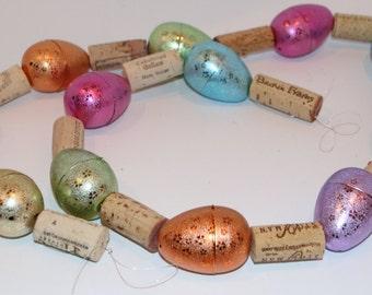 Wine Cork Garland Recycled Metalic Easter Egg Garland