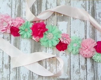 Pink Mint Sash, Mint Pink Wedding, Pink Mint Bridal Sash, Flower Girl Sash, Bridal Belt, Wedding Sash, Bridesmaids, Mint Pink Flower Sash