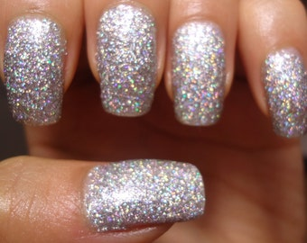 Silver Sand Holographic Glitter Polish