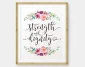 SALE Strength and Dignity, Proverbs 31 printable, Bible Verse art print, Christian wall art, Scripture Printable - Digital Download