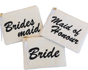 Bridal party clutches, bridesmaid purses, bridal gifts, bridal party gifts, black and cream pouches, zipper pouch, wedding gifts, bride