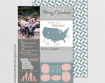 Year in Review Infographic Card, Christmas Card, Holiday Card, New Year's Card, Photo Card, Digital Design, Holiday Card #8