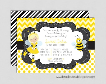 Our Little Honey Bee Birthday Party Invitation 2, Digital & Customizeable