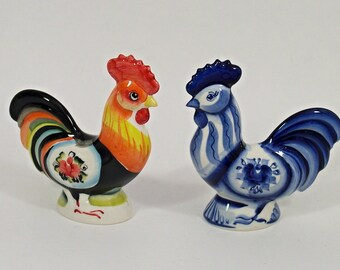 GZHEL RUSSIAN Porcelain Figurine ROOSTER - * 2017 - The Year Of The Rooster* #0148/#0149