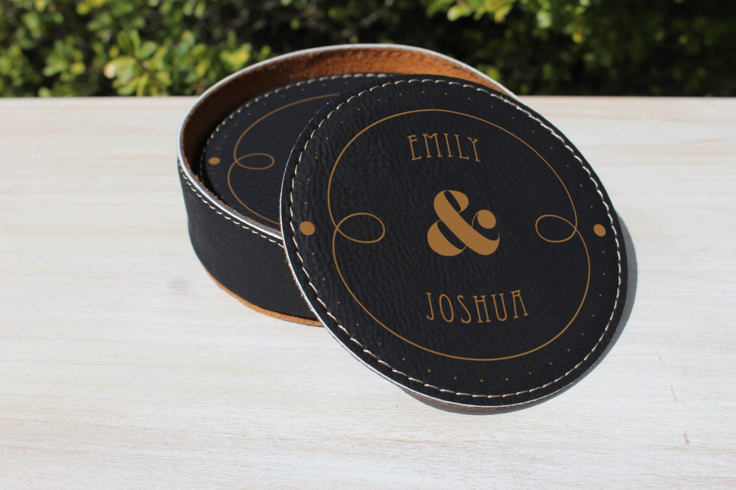 Leather Coaster Set Personalized Coasters By Glowcaketoppers