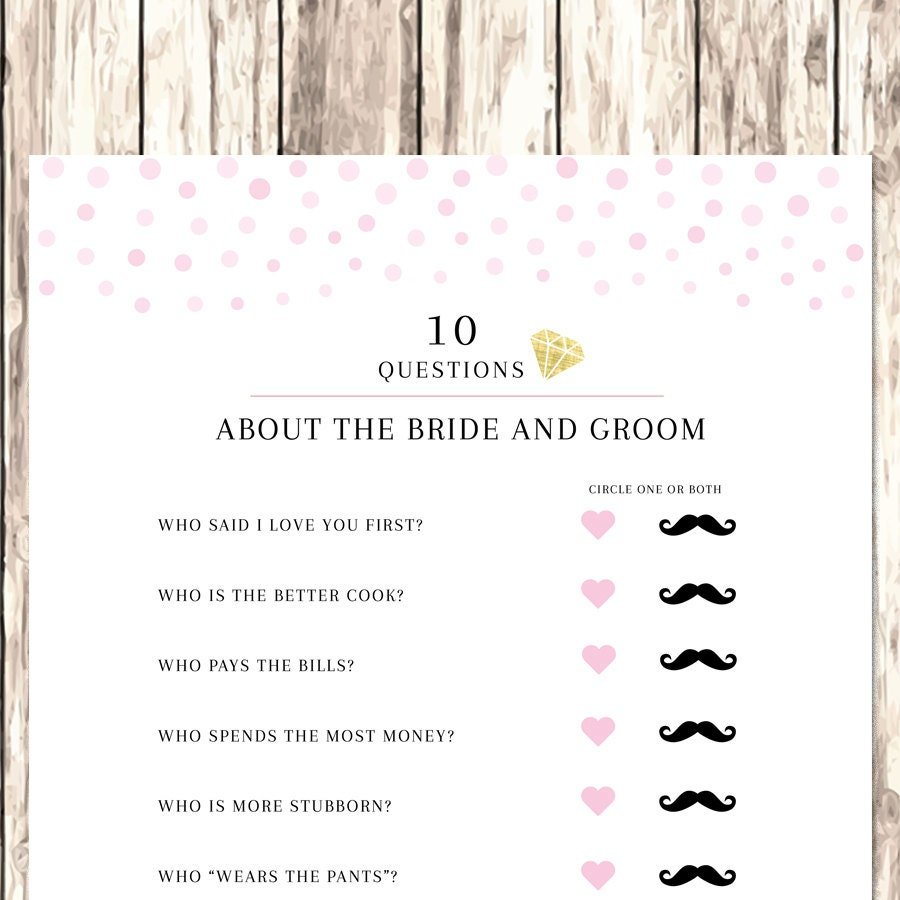 Bride And Groom Questionnaire: 10 Questions Bridal Shower Game Bridal Shower Confetti