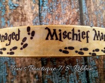 "Mischief managed 7/8"" Grosgrain Ribbon, Harry Potter Inspired ribbon, craft supply, scrapbook supply, hair bow supply, dog collar supply"