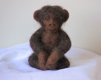 Cute needle felted Monkey in dark brown
