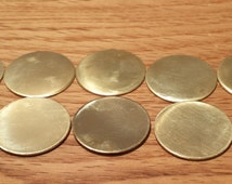 """50 x 25mm Brass Disc - Free Shipping - 1"""" Brass Disc - Disc Punched and Unfinished - Ideal for Pendants, Pet Tags, Jewelry, Crafts"""