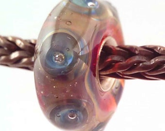 loversofbeads SRA artist handmade euro big hole - lampwork glass bead - lined with Sterling Silver - Made To Order - S851