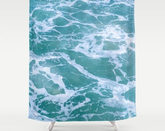 ocean waves shower curtain turquoise bathroom decor blue ocean coatal style shoer tropical wave beach house