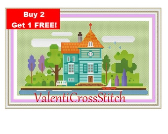 Little City Cross Stitch Pattern, Little Town, Modern Cross Stitch Pattern, Instant download