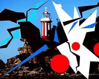 Lighthouse Graphix, DIGITAL Download, Coastal, Modern, Abstract, Fine Art, Home Decor, Wall Art