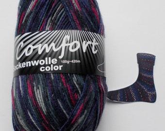 sock yarn, darkblue patternd, 4ply (1115.07)