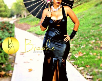 Black Faux Leather Evening Gown