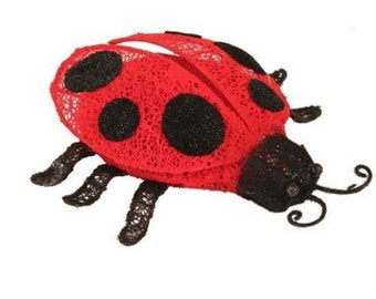 "9"" Wire & Bead Ladybug/Wreath Enhancement/ Spring-Summer Decor/KG2924"