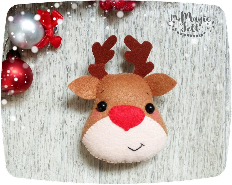 Christmas Ornaments Felt Rudolph Reindeer Ornament By