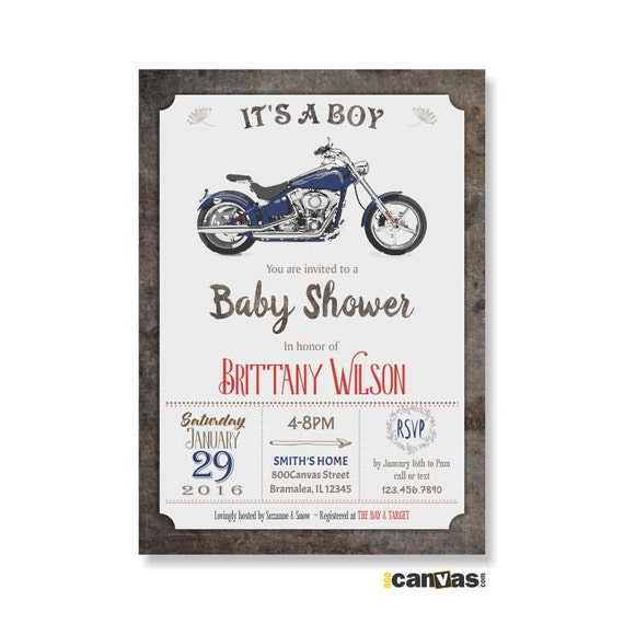motorcycle baby shower invites it 39 s a boy baby shower retro baby