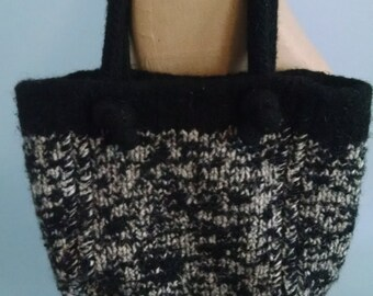 Black and white felted wool purse knit crochet medium size