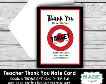 Printed THANK YOU Note Card - TARGET Gift Card Holder, Teacher Appreciation, Teacher Gifts, Printed Thank You Cards, Stationery