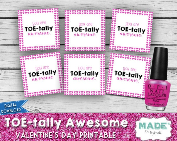 Digital TOE-tally AWESOME Valentine's Day Hang Cards, Kids Valentines Day Cards, DIY Valentines, Kids Valentines, Printable, Gifts