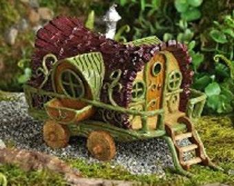 Gypsy Wagon Fairy House Cottage Abode w/ steps Miniature Garden Fairy Gnome Home  mini world dish garden supplies acessories gnome home