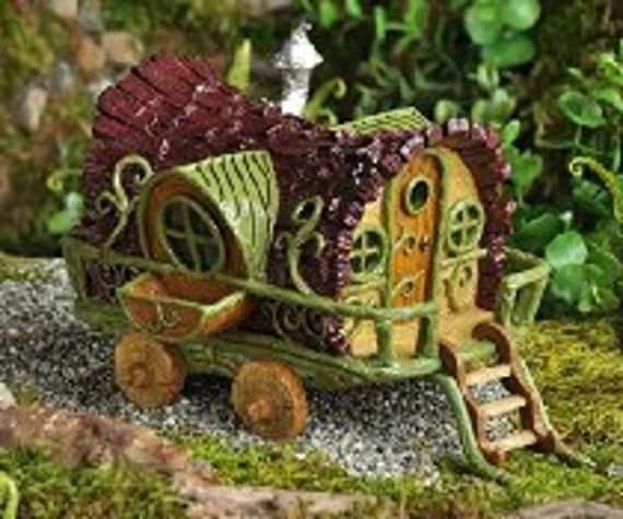 Gypsy Wagon Fairy House Cottage Abode W/ Steps Miniature