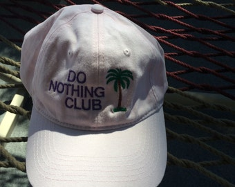"""Do Nothing Club - Pink With Purple Lettering - With """"Retired"""" on the back with a Palm Tree"""