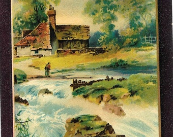 Embossed Antique Edwardian Unused Color Postcard, Artist Pallet, Country Cottage on Stream, Waterfall, Printed in Germany