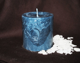 Palm Wax Pillar Candle - Xmas, Christmas Table Centre Piece - Pillar, Tower Candle, Gothic, Scary - Dark Blue Colour