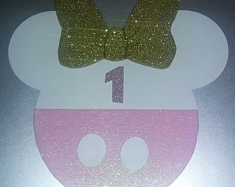 Light Pink and gold Minnie Mouse head invitations