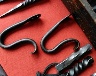 Wrought iron hook. Forged hook.