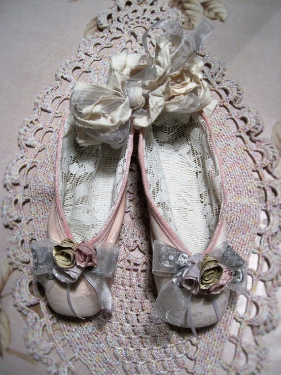 Altered vintage ballet shoes pink paper rose by for Ballet shoes christmas decoration