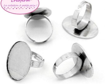10 rings matte Plateau 25x18mm silver mounts