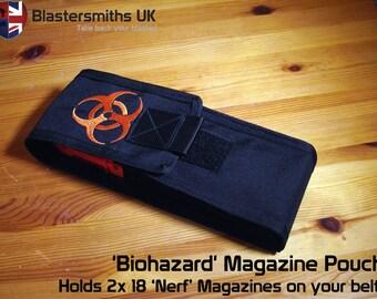 Nerf 2x 18 Dart Clip/Magazine Pouch - Belt Mounted - Biohazard Symbol