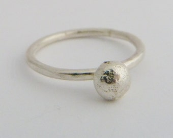 Sterling Silver Large Pebble Stacking Ring. 925 Silver. Solid Silver nugget. Size L