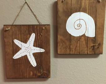 Beach Bathroom Wall Decor Set Rustic Themed Coastal Signs Starfish
