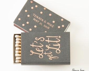 LET'S GET LIT! Matchboxes - Wedding Favors, Wedding Matches, Wedding Decor, Personalized Matches, Custom Matchboxes, Match Box Favor, Party