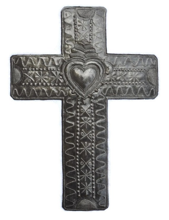 """Large Metal Cross with Milagro Heart 14"""" X 19"""""""