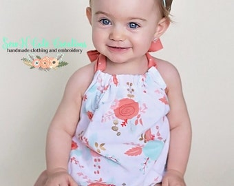 Coral Flower Sunsuit Romper, Spring, Floral, Romper, Baby, Toddler, Mint