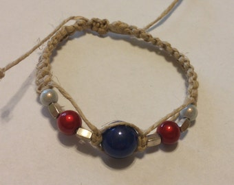 Red White and Blue hemp Bracelet