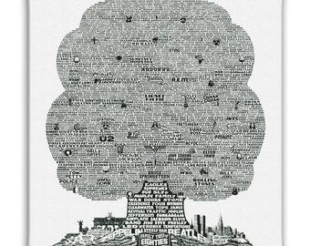 History Tree of 1980's Music Canvas Art Print