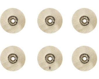 "Set of Six Unmounted White Muslin Brushes 1"" Diameter 30 x 16 Ply Jewelry Polishing Tool - POL-0018"