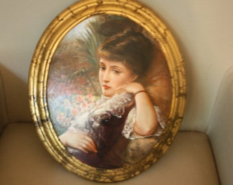 Handpainted cameo portrait of a Victorian woman