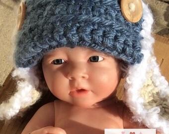 Infant Aviator Crochet Hat
