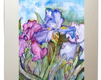 Violet Iris Watercolor Painting Wall Art Prints from Original Artwork, Matted to 11x14