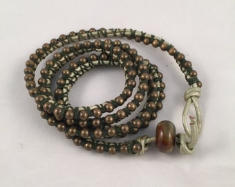 Leather Ball and Chain  Wrap Bracelet
