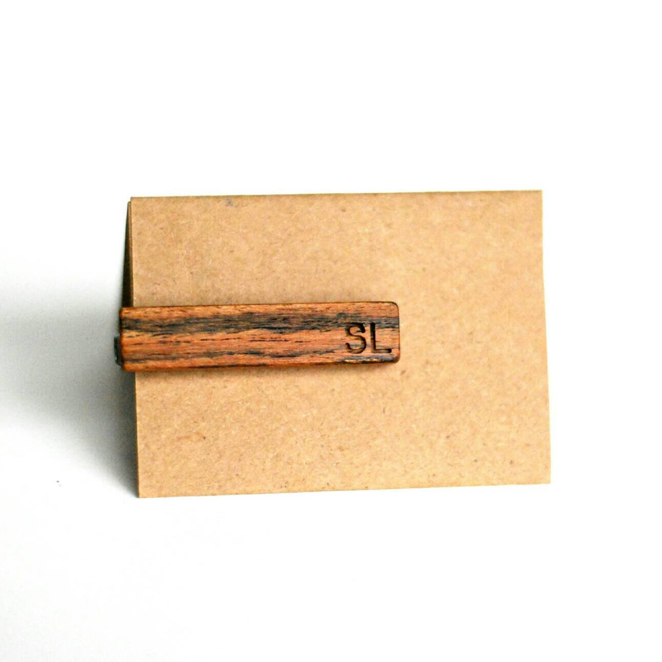 monogrammed tie bar regular font wood tie clip